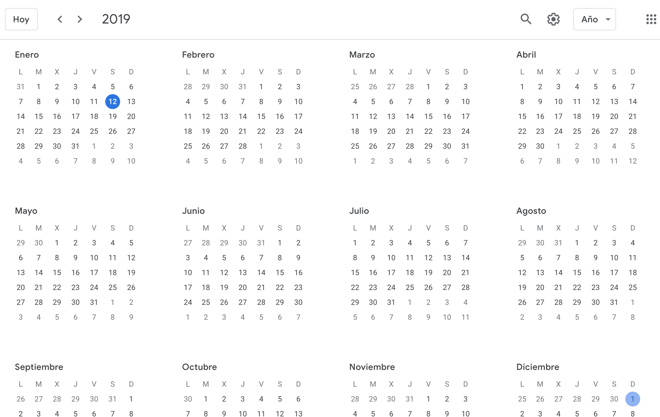 2019 Year View Calendar HOWTO see Google Calendar events in yearly view – ivanmosquera.net